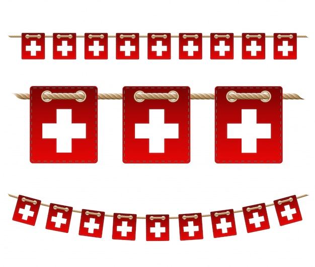 De slingervlag van zwitserland, hang bunting voor de viering van zwitserland dag