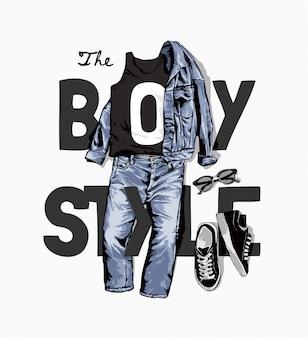 De slogan van de jongensstijl met denimjasje en jeansillustratie