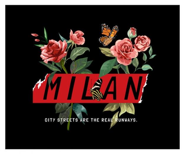 De slogan van milaan met vlinders op de rode illustratie van het rozenboeket