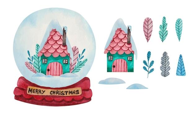 De sneeuwbalbol van waterverfkerstmis met leuk huis
