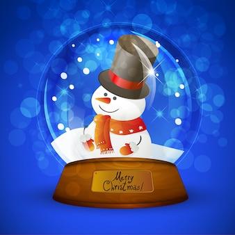 De sneeuwbol van kerstmis met sneeuwman