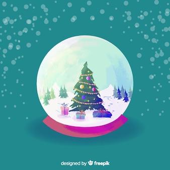De sneeuwbolbol van waterverfkerstmis met boom