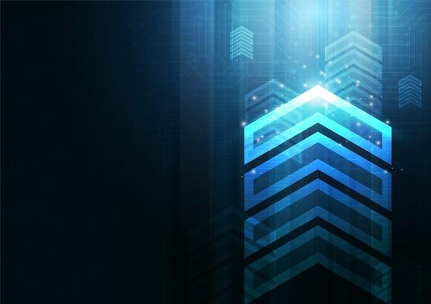 De snelheid en de technologiegegevens van de neonpijl laden samenvatting met kleurrijk vectorontwerp als achtergrond