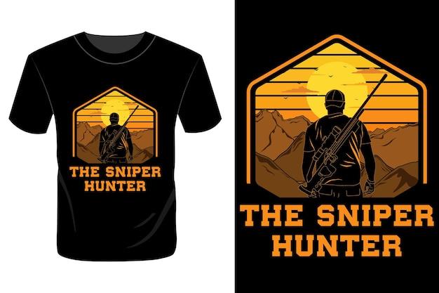 De sniper hunter t-shirt ontwerp vintage retro
