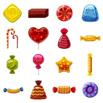 De snoepjes koekt geplaatste pictogrammen, beeldverhaalstijl