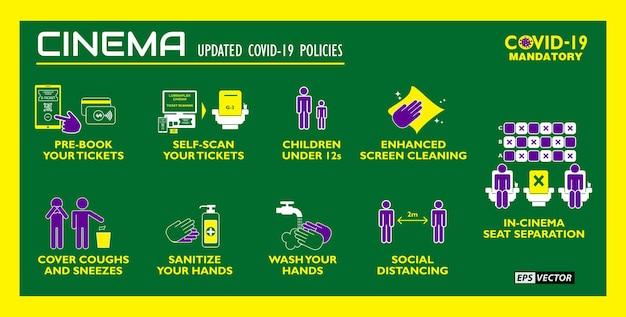 De social distancing cinema nieuwe regels poster of volksgezondheidspraktijken voor covid19 of gezondheid