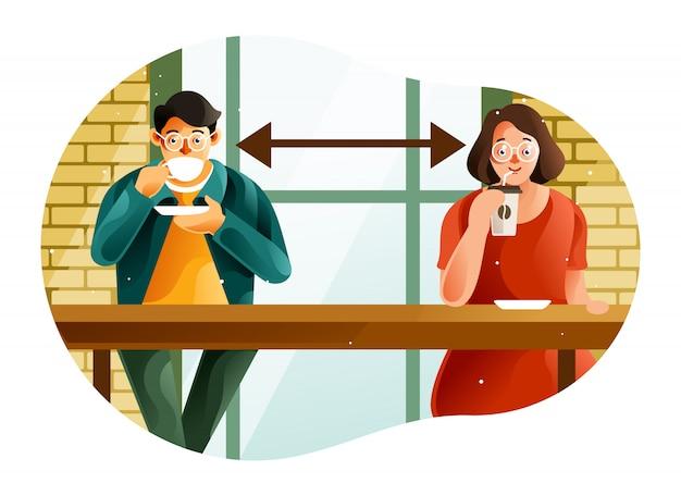 De sociale afstand bij een coffeeshop in het nieuwe normaal tijdens pandemie