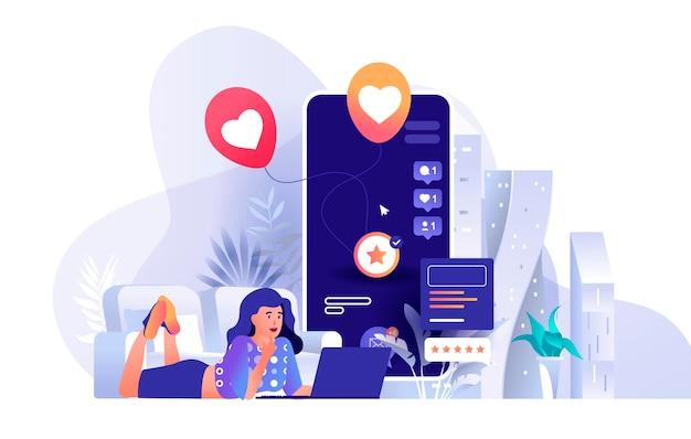 De sociale illustratie van de netwerkscène van mensenkarakters in vlak ontwerpconcept
