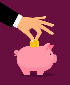 De spaarpot van piggy en zakenmanhand die geld daarin zet