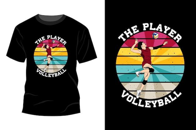 De speler volleybal t-shirt mockup ontwerp vintage retro