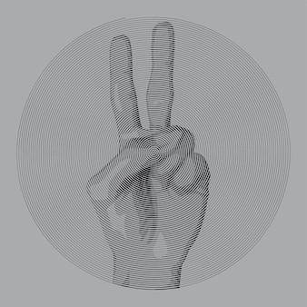 De spiraalvormige hand van de tekeningsstijl maakt een vredesteken