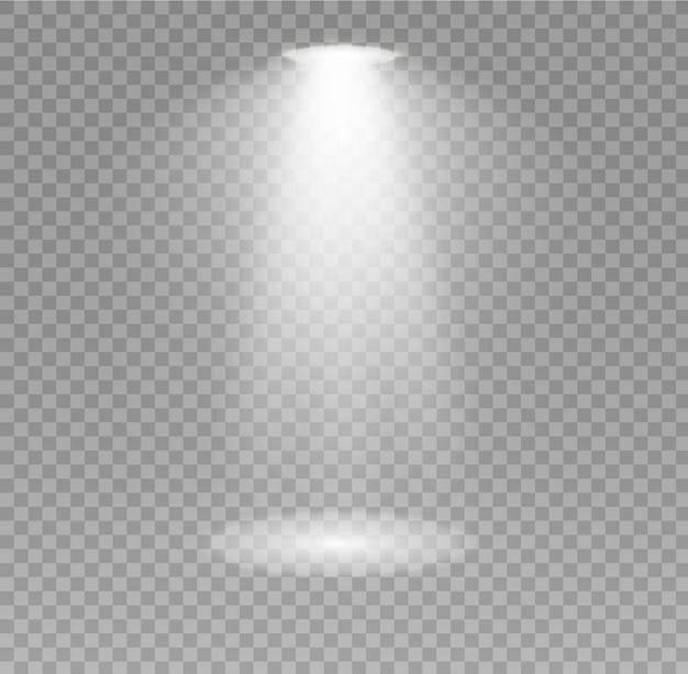 De spotlights schijnen op het podium. licht exclusief gebruik lensflitslichteffect. licht van een lamp of spot. verlichte scène. podium in de kijker.