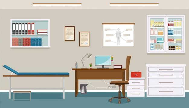De spreekkamer van de arts in de geneeskunde kliniek. leeg medisch kantoor interieur. ziekenhuis werken in gezondheidszorg concept.