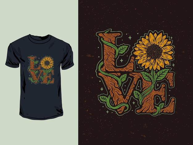 De spreuk van de zonnebloemliefde met een kleurrijke vintage stijlillustratie