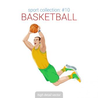 De sprong van de basketbalspeler werpt het doelillustratie van balscores.