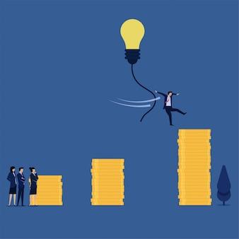 De sprong van de bedrijfs vlakke vectorconceptenmanager aan muntstukstapel van ideemetafoor van creatief idee.