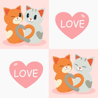 De staart van kattenliefde lijkt op een hart