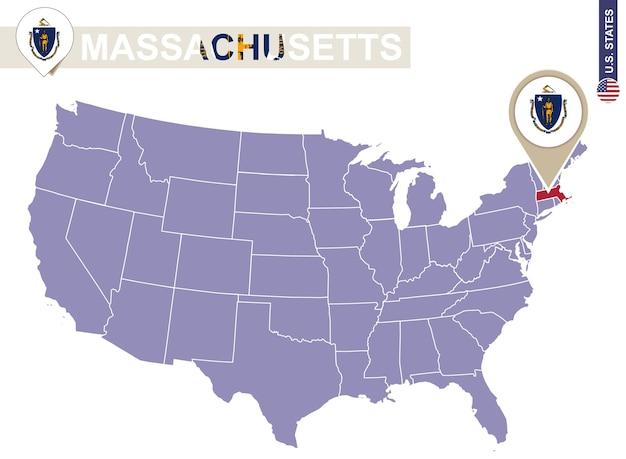 De staat van massachusetts op de kaart van de v.s. vlag en kaart van massachusetts. amerikaanse staten.