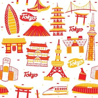 De stad naadloos patroon van tokyo met oriëntatiepuntenelementen