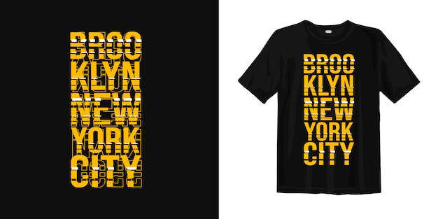 De stad van brooklyn new york met glitch stijl voor t-shirt