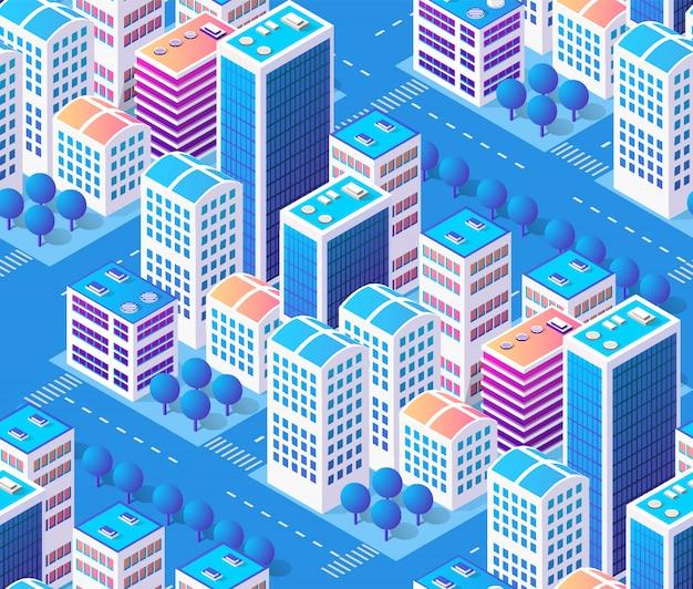 De stad van de architectuurillustratie voor het naadloze herhalen