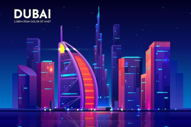 De stad van dubai met burj al arab-hotelhorizon, de vae