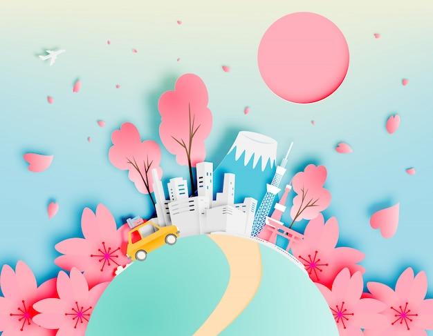 De stad van tokyo japan in de lente met de vectorillustratie van de document kunststijl