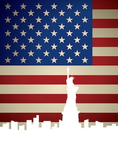 De stadshorizon van new york op amerikaanse vlagachtergrond