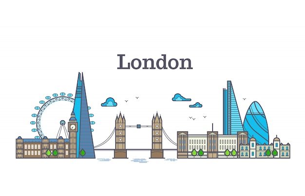 De stadsmening van londen, stedelijke horizon met gebouwen, de oriëntatiepunten moderne vlakke vectorillustratie van europa oriëntatiepunten