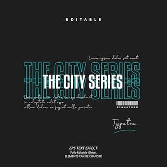 De stadsserie glitch handtekening stedelijke tosca teksteffect bewerkbare premium vector