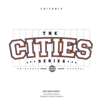 De steden sportkleding teksteffect bewerkbare premium vector