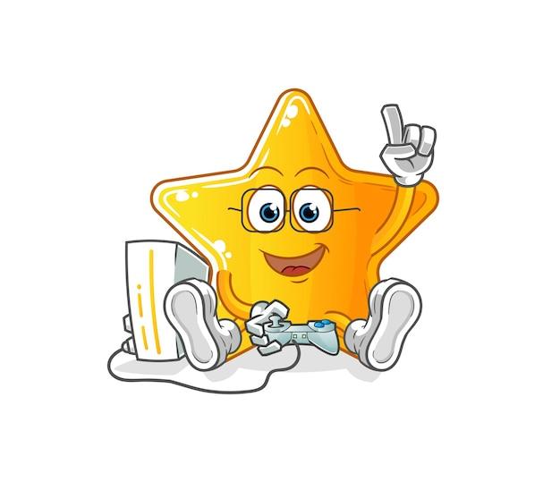 De ster die videogames speelt. tekenfilm