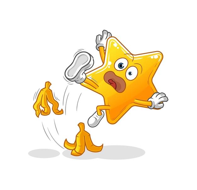 De ster gleed uit over banaan. cartoon mascotte