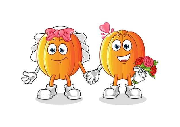 De sterfruit bruiloft cartoon.