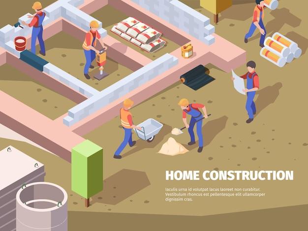 De stichtingsbouw van arbeiders. architecten en bouwers bouwen huisingenieurs aan het werk