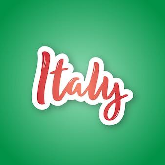 De sticker van italië met het van letters voorzien in document sneed stijl.
