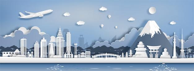 De stijl van de documentkunst van het oriëntatiepunt van japan en toeristische attracties.