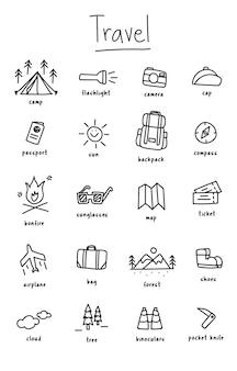 De stijl van de illustratietekening van het kamperen pictogrammeninzameling