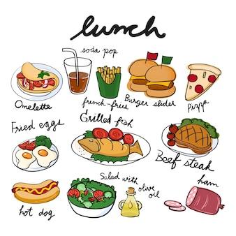 De stijl van de illustratietekening van voedselinzameling