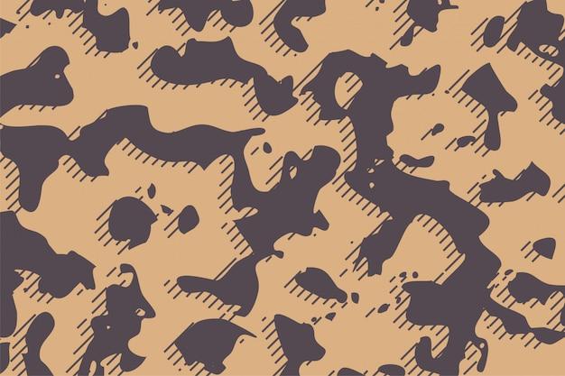 De stoffentextuur van het camouflageleger op bruine schaduwenachtergrond