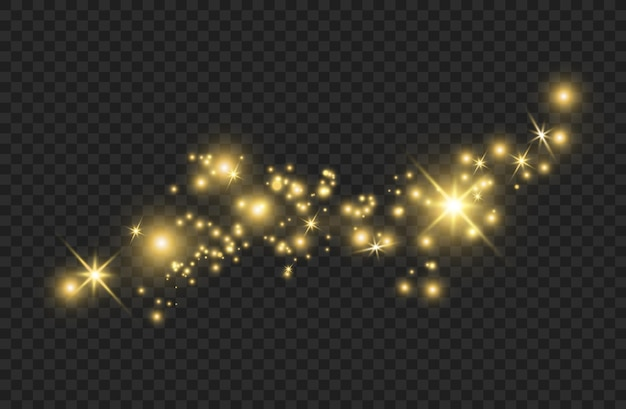 De stofvonken en gouden sterren schijnen met speciaal licht. schittert op een transparante achtergrond. kerst lichteffect.