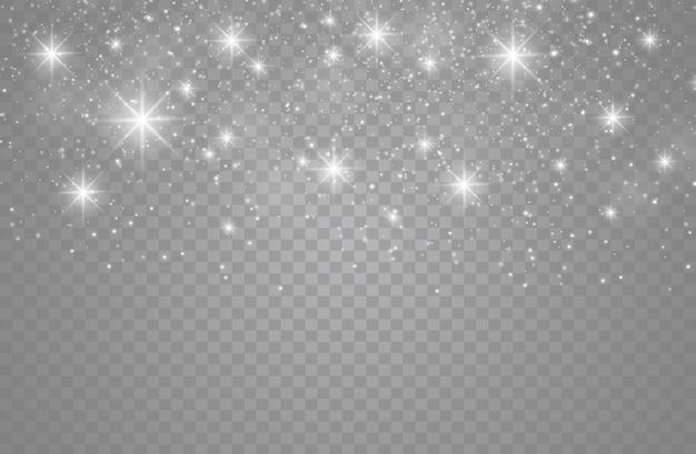 De stofvonken en gouden sterren schijnen met speciaal licht.