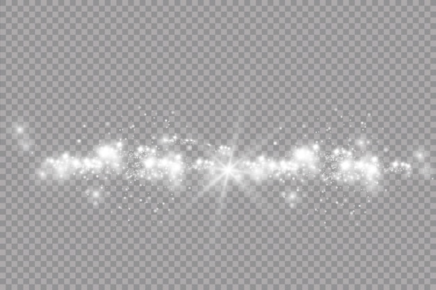De stofvonken en gouden sterren schitteren met speciaal licht