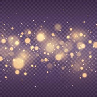 De stofvonken en gouden sterren schitteren met speciale licht gloeiende gele bokeh-cirkels