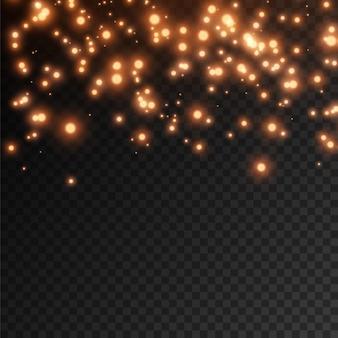 De stofvonken en rode sterren schijnen met speciaal licht. rode glitter schittert