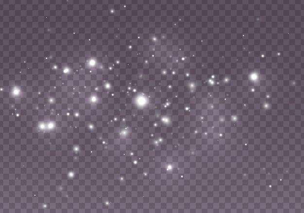 De stofvonken en sterren schijnen met speciaal licht.