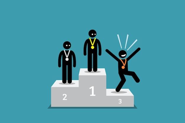 De stokfiguur op de derde plaats is gelukkiger dan de mensen op de eerste en tweede plaats.