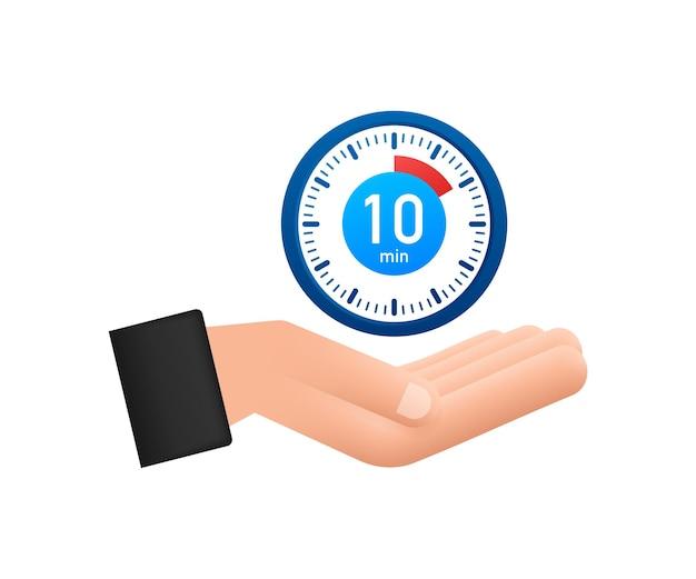 De stopwatch van 10 minuten met handenpictogram stopwatchpictogram in vlakke stijltimer