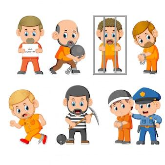 De straf van de crimineel in de gevangenis