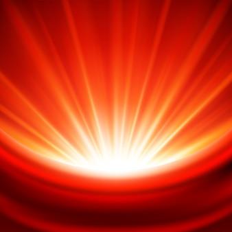 De stralen magische gloed van vieringsrode lichten met zijdetextiel en illustratie